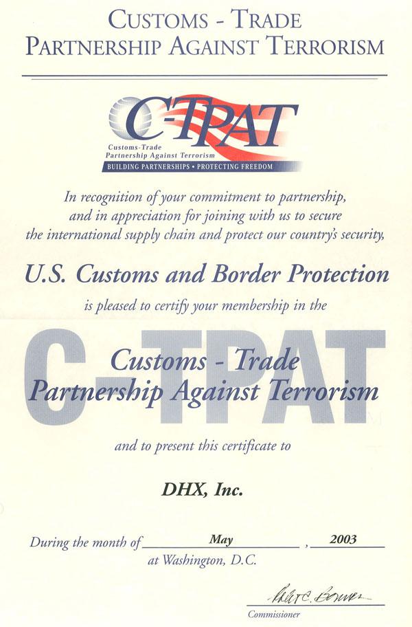 C-TPAT Validation Certificate