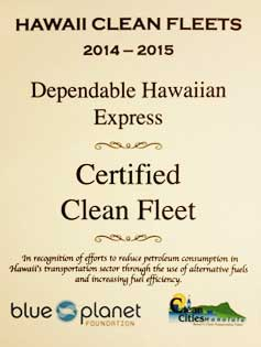 DHX - Dependable Hawaiian Express Blue Planet Certified Clean Fleet certificate